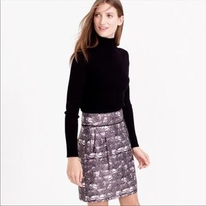 J Crew Black Feather Pattern Circle Skirt